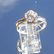 Sterling/9kt: Yellow Gold Floral Cut Cubic Zircon Ladies Ring