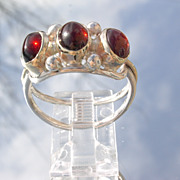 Sterling/9kt Yellow Gold Vibrant Red Triple Cabochon Garnet Ladies Ring