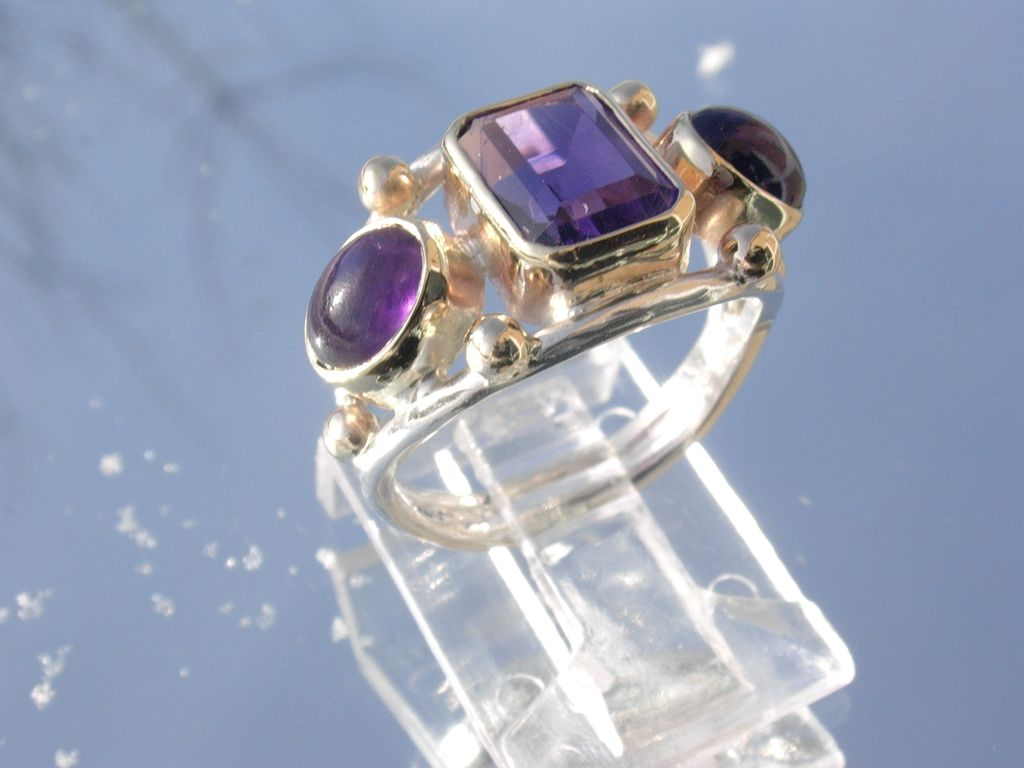 Sterling/9kt Yellow Gold Multi Amethyst Cut Ladies Ring