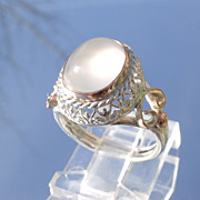 Sterling/9kt Ornate Grey Cabochon Moonstone Ladies Ring