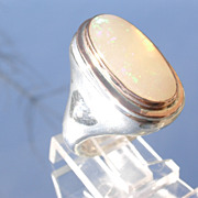Sterling/9kt Pink Gold Large Oval Opal Unisex Ring