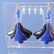 18kt Vintage Lapis Lazuli, Hematite, Black Onyx Fan Shape Dangle Earrings