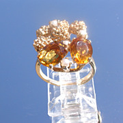 10kt Vintage Citrine/Seed Pearl Ladies Ring