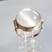 9kt Pink Gold LARGE Round Semi-Translucent Grey Moonstone Ladies Ring
