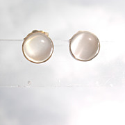 14kt Grey Cabochon Moonstone Stud Earrings