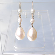 14kt Round/Drop Shape Freshwater Pearl Dangle Earrings