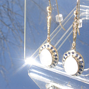 14kt /Sterling Moonstone/Sapphire/Diamond Dangle Earring