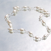 Sterling Multi Oval Shaped Freshwater Pearl Necklace