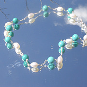 Sterling Turquoise/Freshwater Pearl Necklace