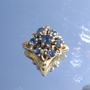 14kt Multi Sapphire Flower Slide