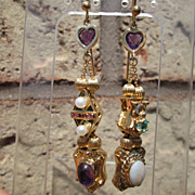 14kt Vintage Amethyst Heart, Diamond, Culture Pearl, Ruby, Emerald, Opal, Amethyst Slide Earri