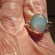 9kt Yellow Gold See-Through Fiery Opal Ladies Ring