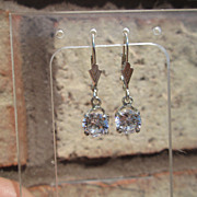 "Sterling ""One and Half Carat"" Cubic Zircon Dangle Earring"