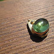 "14kt Vintage Glowing Green Tourmaline ""Raindrop"" Slide"