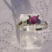 18kt White Gold Vintage Ruby and Double Baguette Diamond Ladies Ring