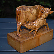 Antique Fine Art Hand Carved Boxwood Cow Group