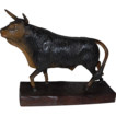 Masterpiece This Large Vintage Fine Hand Carved Wood Bull Sculpture
