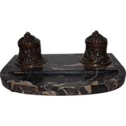 A French Art Nouveau Finest Bronze Desk Ink Stand Set on a Marble Base