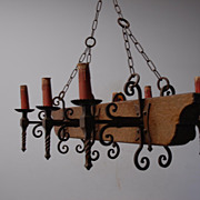 A French Vintage Wood / Wrought Iron 6-light Castle Chandelier