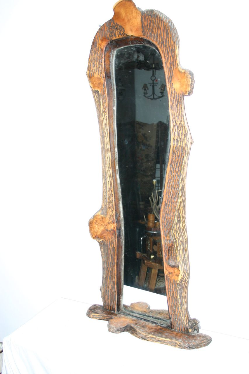 Large Vintage Carved Wooden Wall Mirror