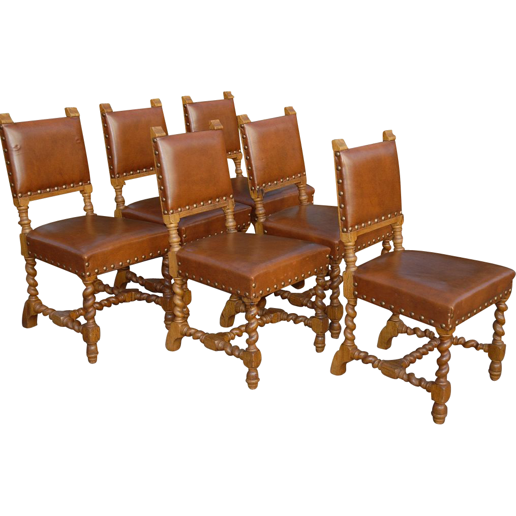 Vintage set of six carved wood barley twisted dining for Wood and leather dining chair