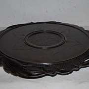 A Fine Carved Wood Black Forest Display Tray with Decor of Leaves