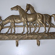 Vintage Bronze Wall Rack with Horses Decor
