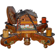 Unique Original Austrian(tyrol) Vintage Black Forest Wooden 5-light Chalet Chandelier