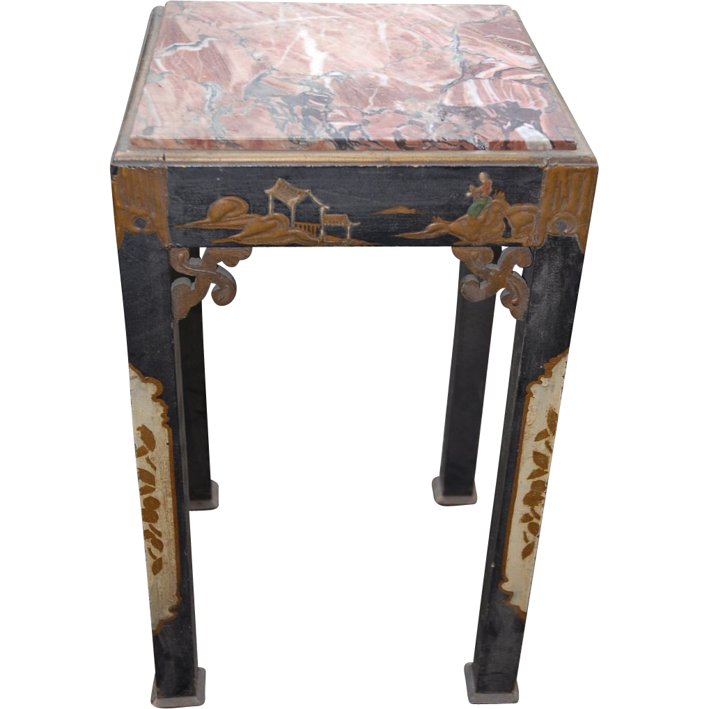 An Antique Chinese Wooden Plant Table With Lacquer Work