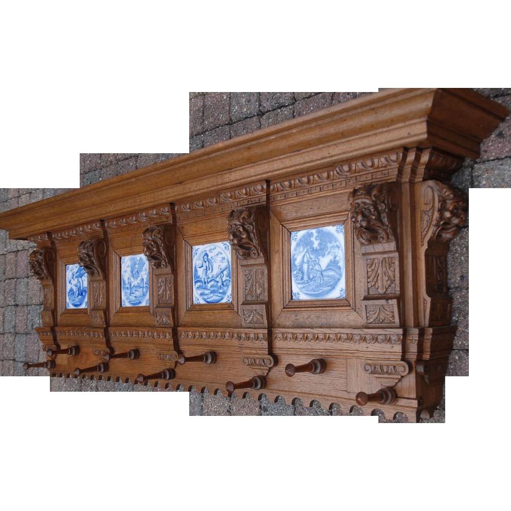 Luxury Vintage Fine Hand Carved Oak Wood Coat Rack With Shelf