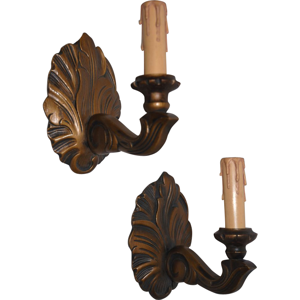 Antique Wood Wall Sconces : Lovely Vintage Pair Carved Wood 1-light Wall Sconces from europeantiqueshop on Ruby Lane