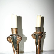 SALE An Antique Pair wood/Toleware Candelabras with Ram Heads