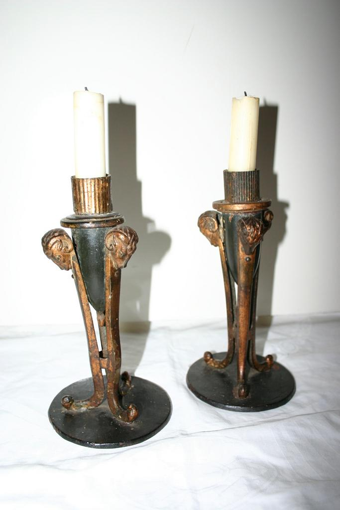 An Antique Pair wood/Toleware Candelabras with Ram Heads