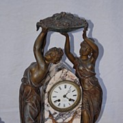SALE An Antique Marble/Spelter Female Clock Set