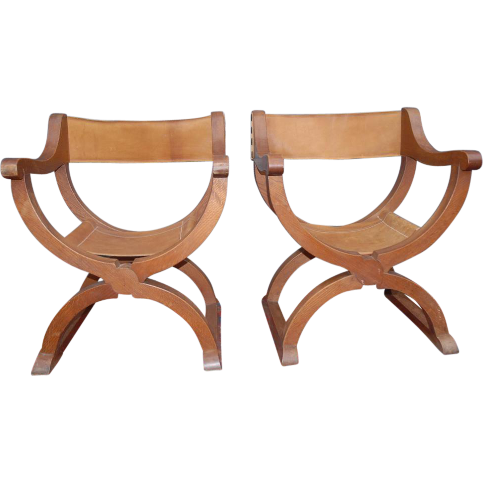 Pics photos antique wooden high chair high chairs - An Old Pair Wooden Oak Renaissance Style X Frame Chairs