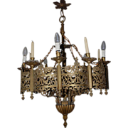 A Huge Antique Bronze 6-light + 6-candle Gothic Art / Church Chandelier