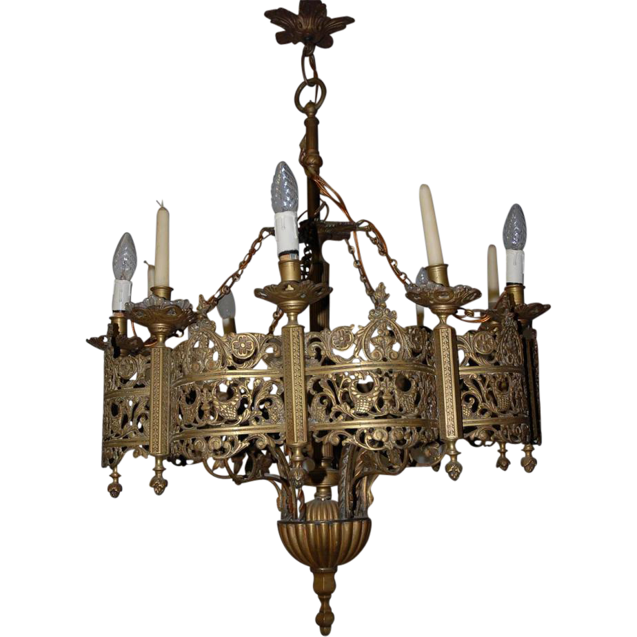 This A FRENCH GOTHIC BRONZE CHANDELIER ... - Antique Gothic Bronze Chandelier At 1stdibs 7173 Gothic Revival