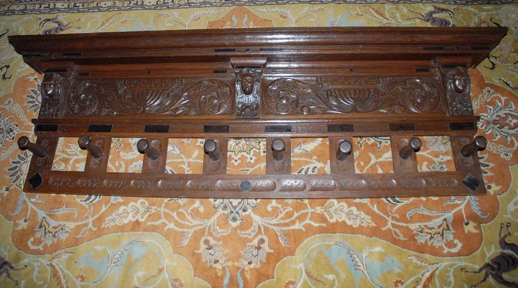 An Early Large Antique Fine Carved Wood Figural Coat Rack