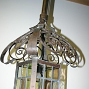 Large Antique Quality Scrolled Wrought Iron Stained Glass Lantern Lamp