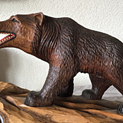 A Large Old Fine Carved Wood Black Forest Bear Sculpture Walking on a Rock with Barometer