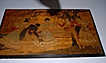 A Large Antique Carved Wood Painted Figural Wall Relief