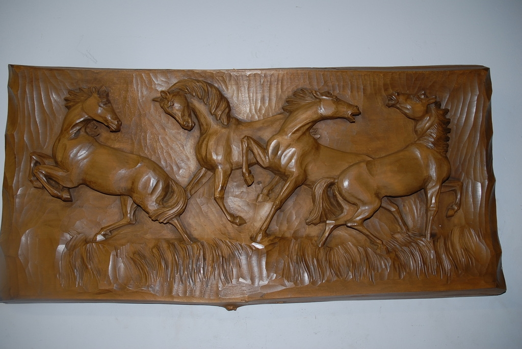 A fine carved wood wall relief quot group wild horses from