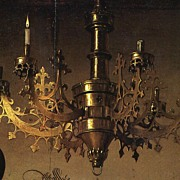 SALE An Old Exclusive Brass Gothic Art 9-light Chandelier