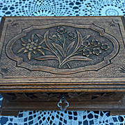 An Antique Carved Wood(walnut) Swiss Black Forest Jewelry Box