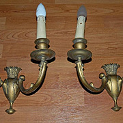 A Pair Art Nouveau Quality Bronze 2-light Wall Sconces