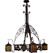 A Huge Museum Quality Wrought Iron 5-light Chandelier with lanterns