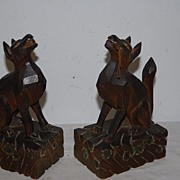 A Gorgeous Antique Pair Fine Carved Wood Art Pharaoh Dogs