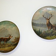 An Antique Pair Porcelain Wall Plates with Painted Deer Hunting Scene