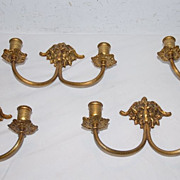 A Pair of French Bronze 2-arm Lion Head Wall Applique's or Sconces