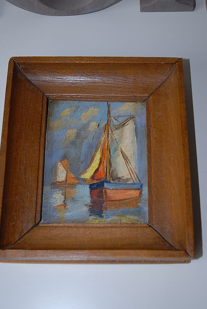 Oil Painting On Wood, Sailing Boats in Wooden Frame